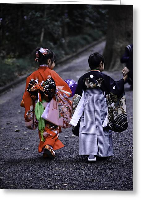 Wishes Greeting Cards - Two young children wearing little kimonos Greeting Card by Anya Terebenina-Taggart