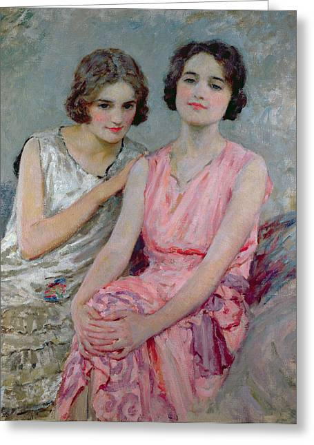 Pink Dress Greeting Cards - Two Young Women Seated Greeting Card by William Henry Margetson