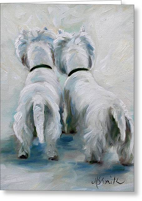 Westie Art Greeting Cards - Twos Company Greeting Card by Mary Sparrow
