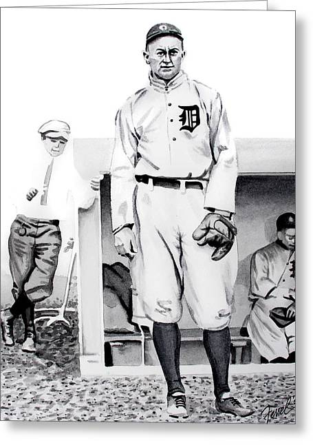 Baseball Paintings Greeting Cards - Ty Cobb Greeting Card by Ferrel Cordle
