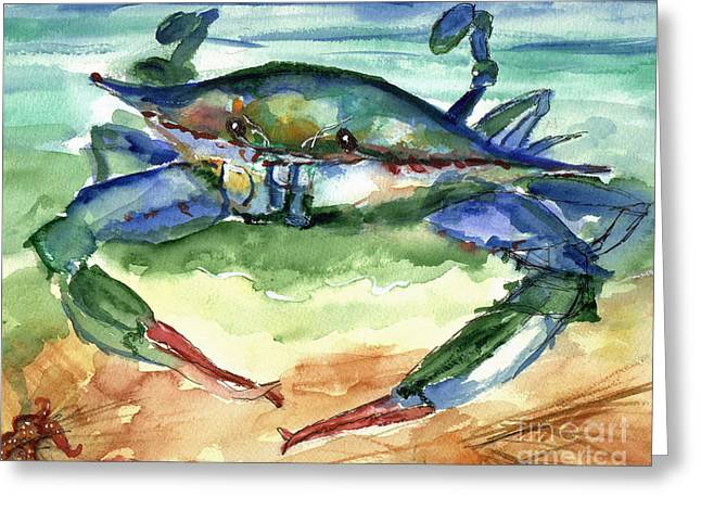 Wildlife Watercolor Greeting Cards - Tybee Blue Crab Greeting Card by Doris Blessington