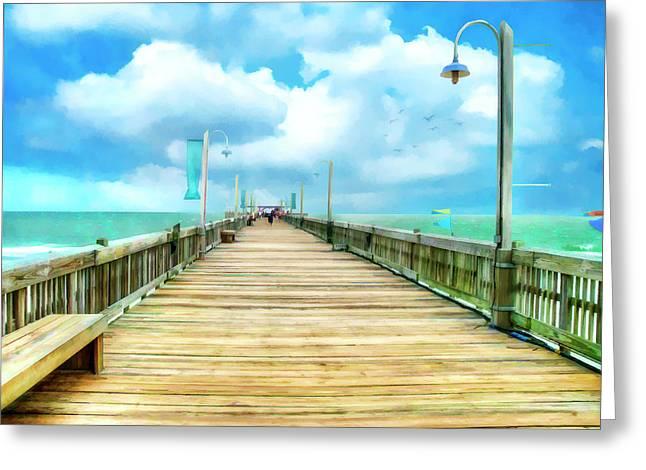 Tybee Island Pier Greeting Cards - Tybee Island Pier in Watercolor Greeting Card by Tammy Wetzel