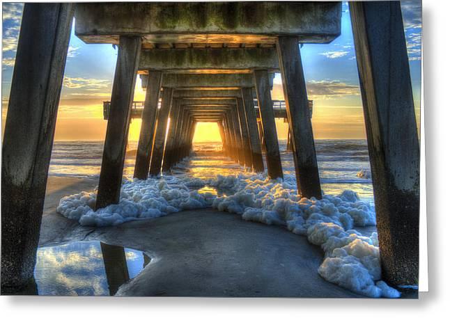 Sand Bar Greeting Cards - Tybee Island Pier Sunrise Sea Foam Greeting Card by Reid Callaway