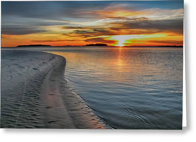 Tybee Sunset Greeting Card by Steven  Michael