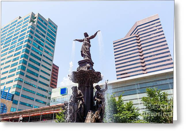 Business Woman Greeting Cards - Tyler Davidson Fountain Cincinnati Ohio  Greeting Card by Paul Velgos