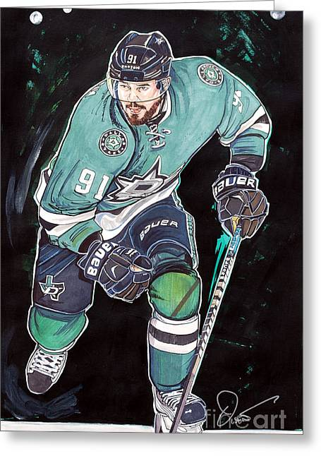 Nhl Hockey Drawings Greeting Cards - Tyler Seguin Greeting Card by Dave Olsen