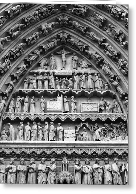 Gothic Cathedral Greeting Cards - Tympanum  Greeting Card by Aidan Moran