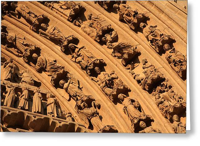 Amiens Greeting Cards - Tympanum Of Central West Portal Greeting Card by Aidan Moran