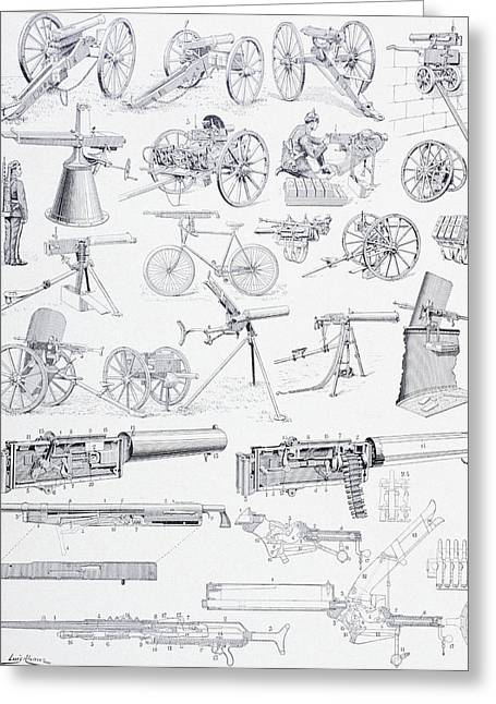 Mechanism Drawings Greeting Cards - Types Of Machine Guns And Their Greeting Card by Vintage Design Pics