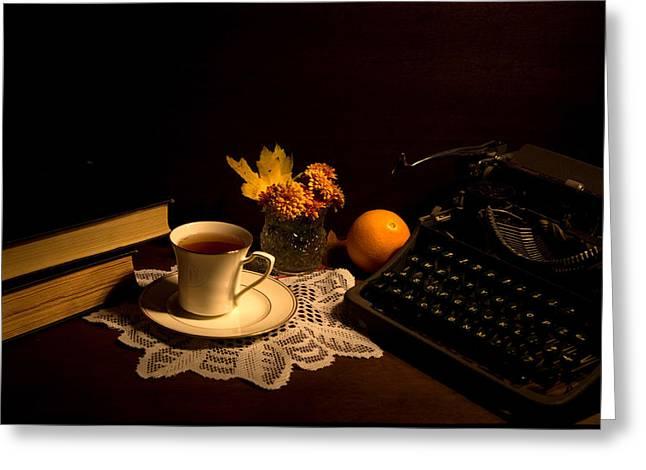 Typewriter Greeting Cards - Typewriter and Tea Greeting Card by Levin Rodriguez