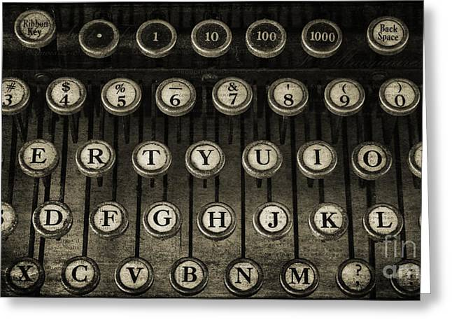 Typewriter Keys Photographs Greeting Cards - Typewriter Keys 2 Greeting Card by Cindi Ressler