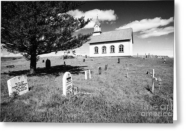 Red-roofed Buildings Greeting Cards - Typical Icelandic Style Church And Cemetery At Hraungerdi Iceland Greeting Card by Joe Fox