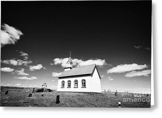 Red-roofed Buildings Greeting Cards - Typical Icelandic Style Church At Hraungerdi Iceland Greeting Card by Joe Fox
