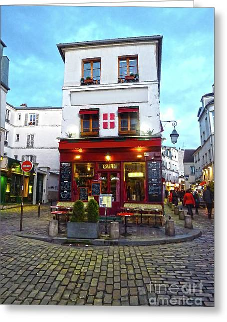 European Restaurant Greeting Cards - Typical Parisian cafe in Montmartre Greeting Card by Giancarlo Liguori