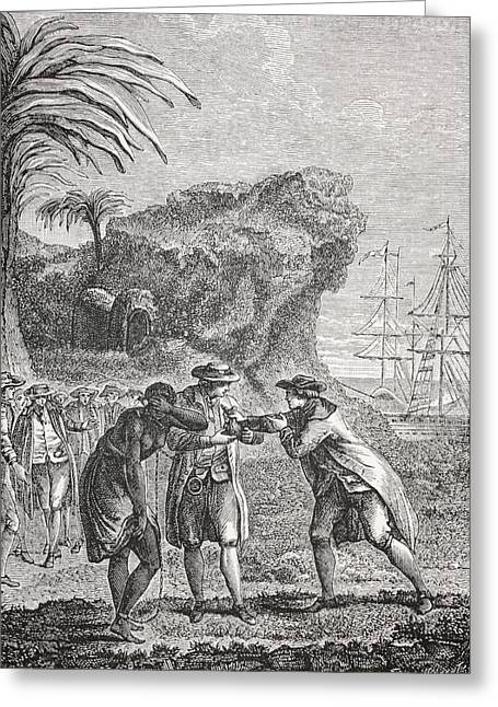 Negro Greeting Cards - Typical Slave Trading Scene In The 18th Greeting Card by Ken Welsh