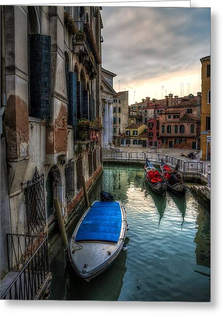 Famous Bridge Pyrography Greeting Cards - Typical venetian canal with boats at sunset Greeting Card by Riccardo Zimmitti