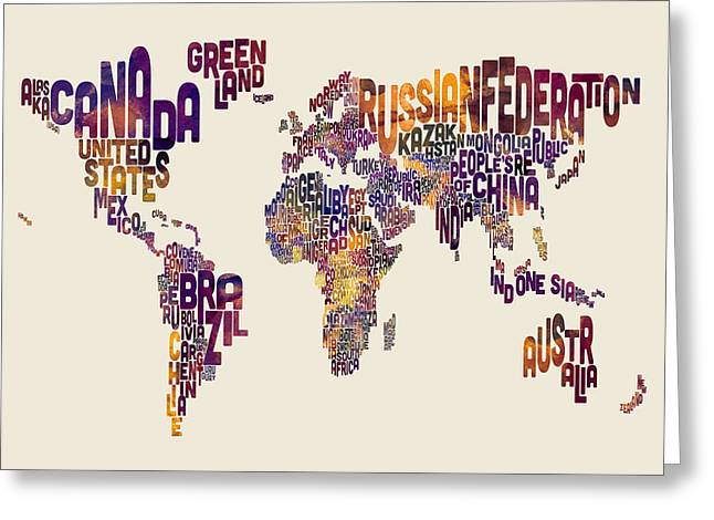 Typography Text Map Of The World Map Greeting Card by Michael Tompsett