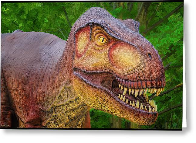 Zoology Greeting Cards - Tyrannosaurus Dinosaur Greeting Card by LeeAnn McLaneGoetz McLaneGoetzStudioLLCcom