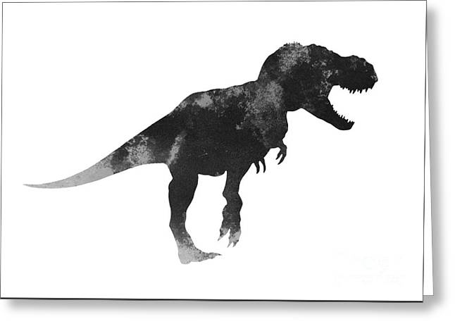 Tyrannosaurus Figurine Watercolor Painting Greeting Card by Joanna Szmerdt