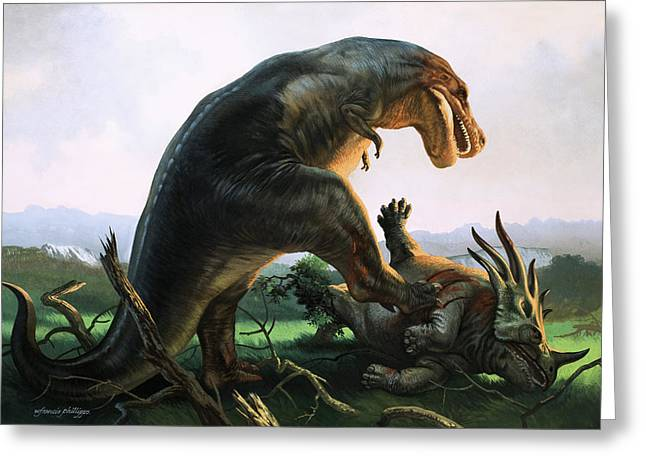 Jurassic Park Greeting Cards - Tyrannosaurus Rex eating a Styracosaurus Greeting Card by William Francis Phillipps