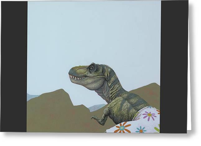 Tyranosaurus Rex Greeting Card by Jasper Oostland