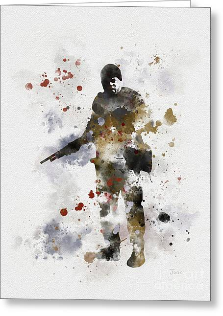 Dead Mixed Media Greeting Cards - Tyreese Greeting Card by Rebecca Jenkins