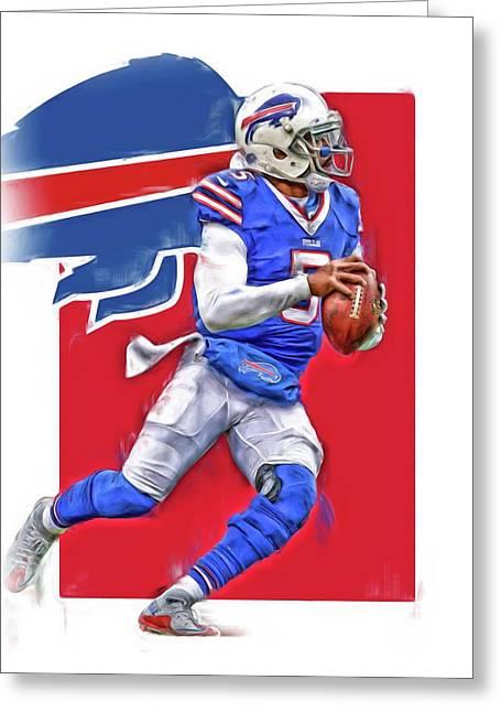 Tyrod Taylor Buffalo Bills Oil Art Greeting Card by Joe Hamilton