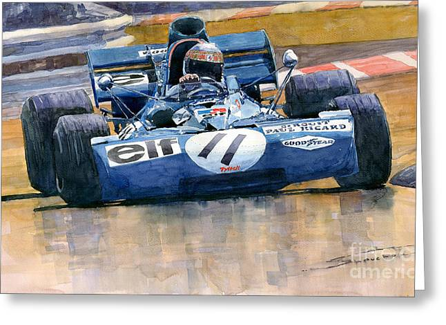 Stewart Greeting Cards - Tyrrell Ford 003 Jackie Stewart 1971 French GP Greeting Card by Yuriy  Shevchuk