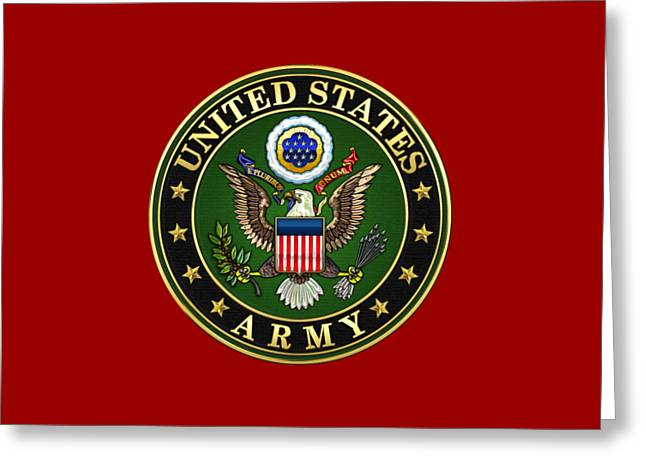 Militaria Greeting Cards - U. S. Army Emblem on Red Leather Greeting Card by Serge Averbukh