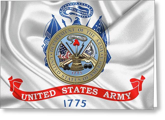 U. S.  Army Seal Over United States Army Flag Greeting Card by Serge Averbukh