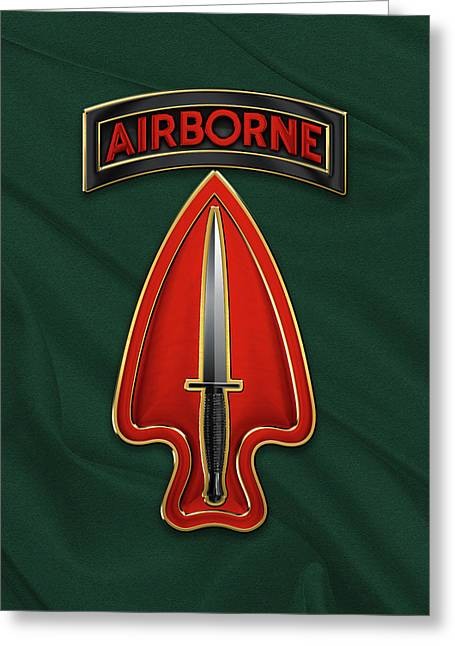 U. S.  Army Special Operations Command  -  U S A S O C    C S I B Over Green Berets Felt Greeting Card by Serge Averbukh
