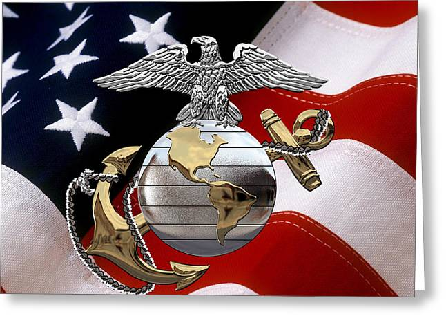 U S M C Eagle Globe And Anchor - C O And Warrant Officer E G A Over U. S. Flag Greeting Card by Serge Averbukh