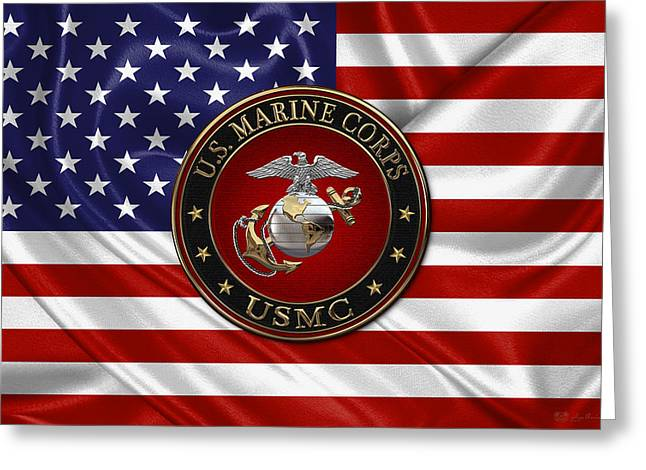 U. S.  Marine Corps - C O And Warrant Officer E G A Special Edition Over U. S.  Flag Greeting Card by Serge Averbukh