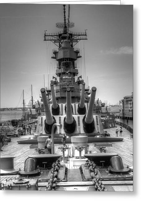 Docked Boat Greeting Cards - U S S Wisconsin B B - 64 v1b Greeting Card by John Straton