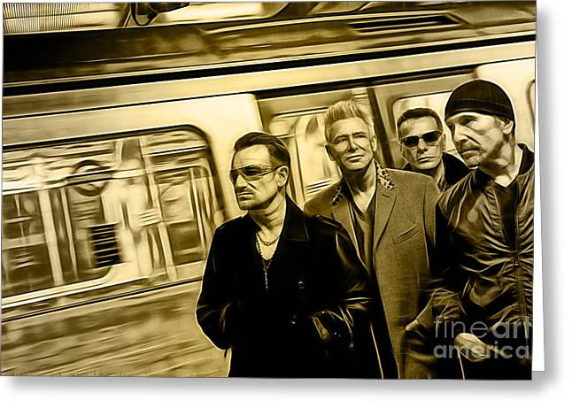 Irish Rock Band Greeting Cards - U2 Collection Greeting Card by Marvin Blaine