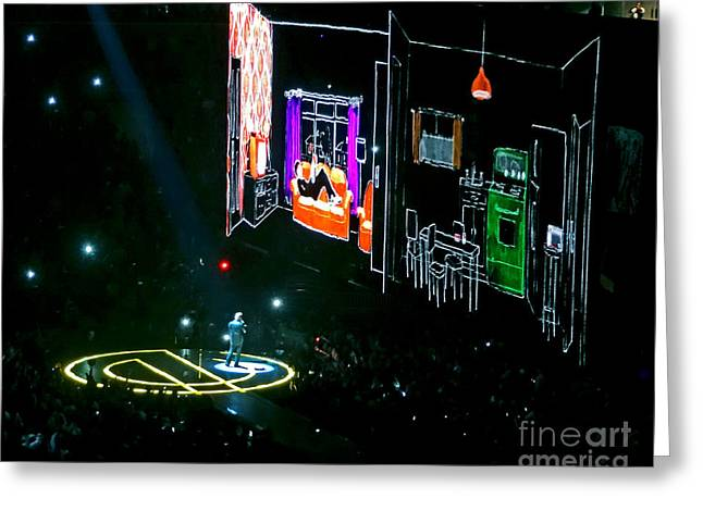 British Celebrities Greeting Cards - U2 Innocence And Experience Tour 2015 Opening At San Jose. 5 Greeting Card by Tanya Filichkin