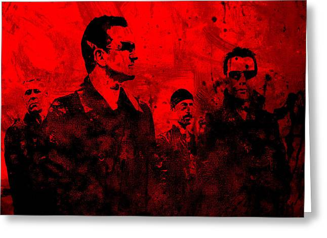U2 Paintings Greeting Cards - U2 Rock On Greeting Card by Brian Reaves