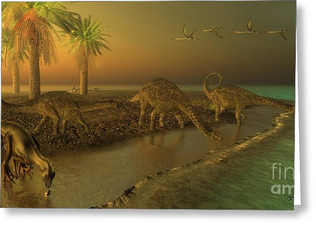 Extinction Of Species Greeting Cards - Uberabatitan Dinosaurs Greeting Card by Corey Ford