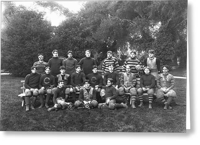 Mid-century Look Greeting Cards - UC Berkeley 1900 Football Team Greeting Card by Underwood Archives