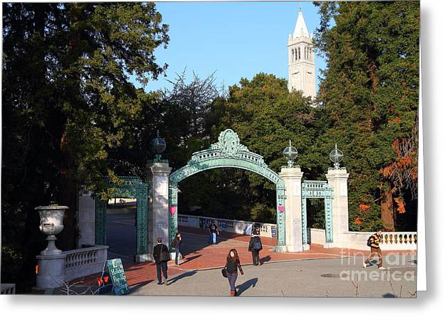 Uc California Greeting Cards - UC Berkeley . Sproul Plaza . Sather Gate and Sather Tower Campanile . 7D10025 Greeting Card by Wingsdomain Art and Photography