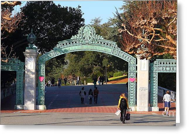 Uc California Greeting Cards - UC Berkeley . Sproul Plaza . Sather Gate . Wide Size . 7D10020 Greeting Card by Wingsdomain Art and Photography