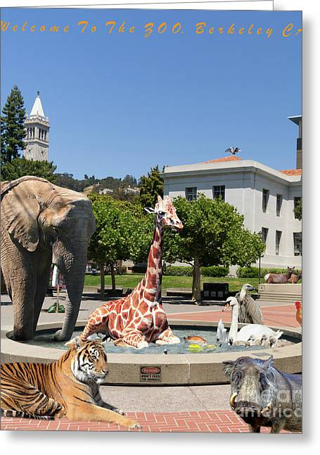Uc Berkeley Welcomes You To The Zoo Please Do Not Feed The Animals Dsc4086 Vertical With Text Greeting Card by Wingsdomain Art and Photography