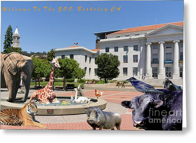 Uc Berkeley Welcomes You To The Zoo Please Do Not Feed The Animals With Text Greeting Card by Wingsdomain Art and Photography