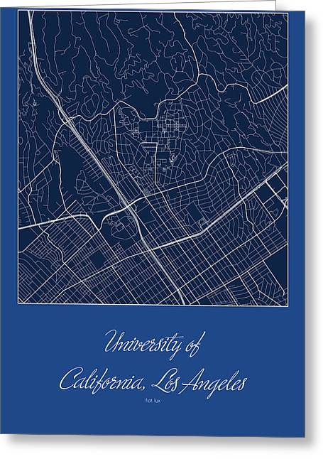 Ucla Street Map - University Of California Los Angeles Map Greeting Card by Jurq Studio