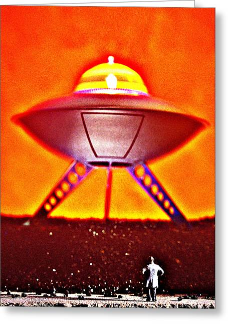 Flying Saucer Greeting Cards - Ufo Greeting Card by L S Keely