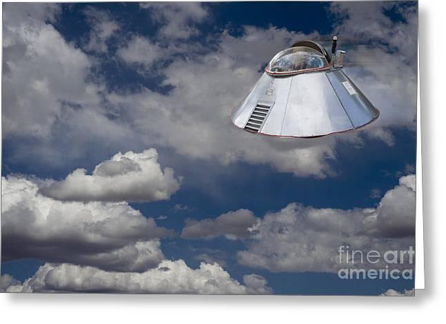 Hightower Greeting Cards - UFO Sighting Greeting Card by Tim Hightower