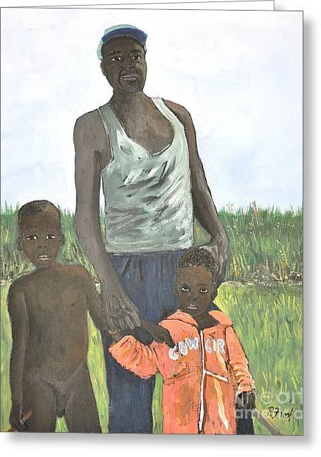 Uganda Greeting Cards - Uganda Family Greeting Card by Reb Frost