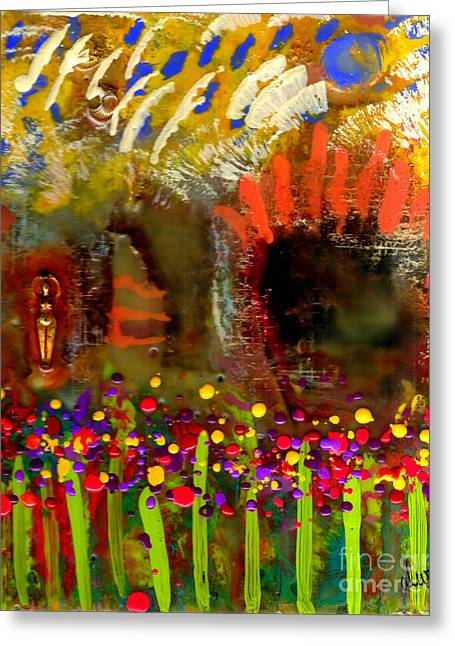 Survivor Art Greeting Cards - Uh Oh Theres a Woman in My Garden Greeting Card by Angela L Walker