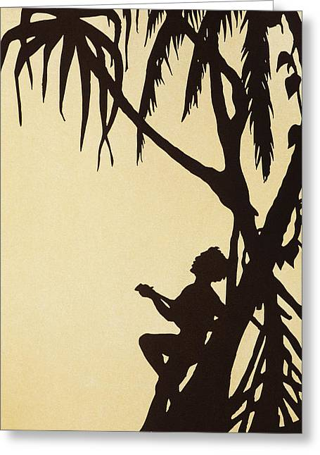 Hawaiian Vintage Art Greeting Cards - Ukulele Graphic Greeting Card by Hawaiian Legacy Archive - Printscapes