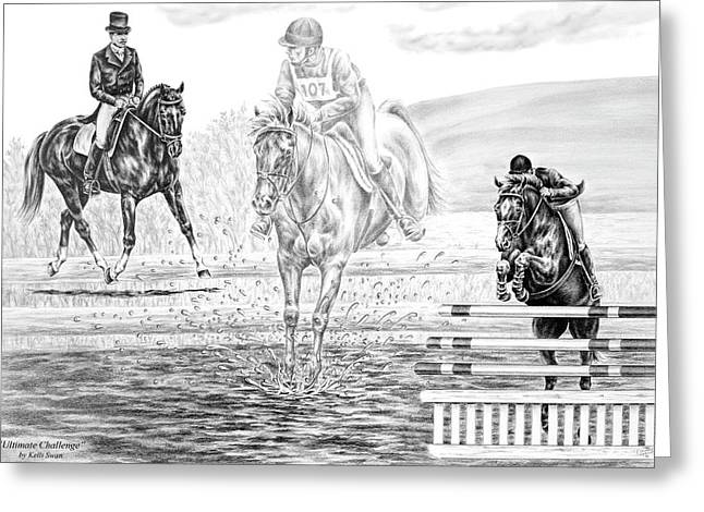 Dressage Drawings Greeting Cards - Ultimate Challenge - Eventing Horse Print Greeting Card by Kelli Swan